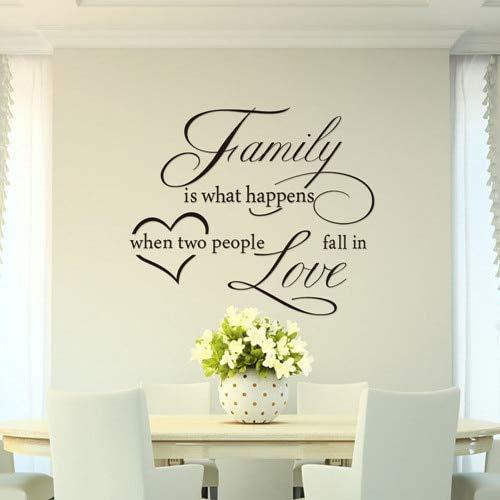 Familie ist was passiert wenn verlieben Zitat Wandtattoo dekorative Wanddekor entfernbare Vinyl Wandaufkleber