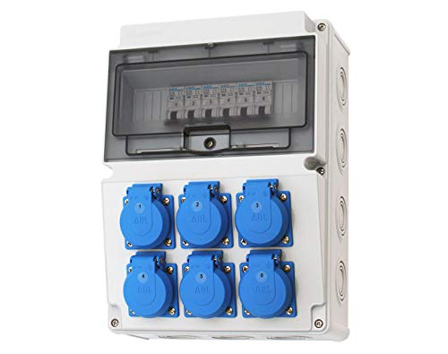 Wandverteiler 6x 230V Stromverteiler Verteiler Baustromverteiler Feuchtraumverteiler 2-2