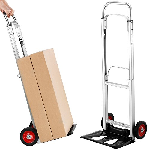 VonHaus 200lb Folding Hand Truck/Dolly with Telescopic Handle & Aluminum Frame