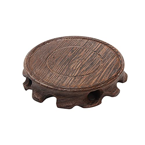 Jarrón de madera para acuario, lámpara de mesa, base para tetera, soporte de madera, 3 tamaños vintage pedestal base redonda soporte de estatua para hogar jardín balcón (wengué, tamaño: 10 cm)