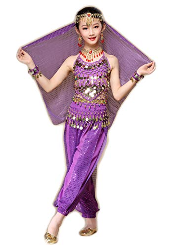 7 Piezas Nia Traje de Danza del Vientre Lentejuela Baile India Disfraces Belly Dance Cosplay Halloween Carnaval Fiesta Costume