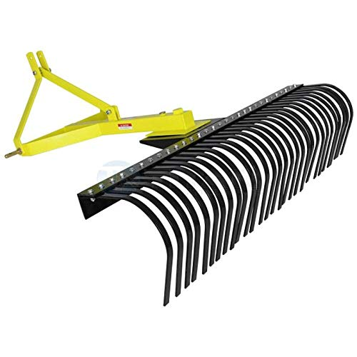 Titan Attachments 5-Ft Landscape Rake for Compact Tractors, Quick Hitch Compatible Tow-Behind Garden Tool