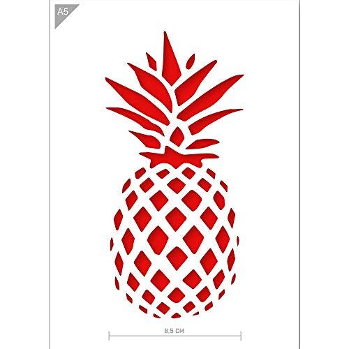 QBIX Ananas-Schablone - Ananas-Schablone - DIY Ananas-Kunst - Größe A5 - Wiederverwendbare kinderfreundliche DIY Schablone für Malerei, Backen, Handwerk, Wand, Möbel