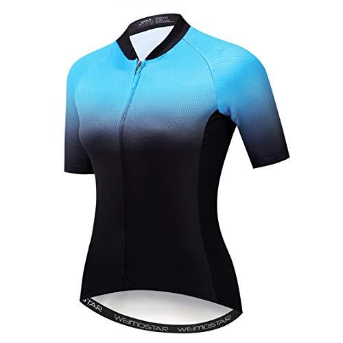 Weimostar Fahrradtrikot Damen Fahrradtrikot Reißverschluss Fahrradhemd Kurzarm Rennradbekleidung Pro Team Racing MTB Top für Damen Damen Racing Bergkleidung atmungsaktiv blau L.