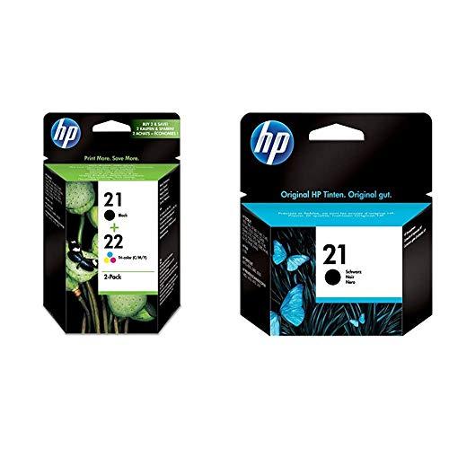 HP 21-22 Combo Pack Sd367Ae Confezione Da Due Cartucce Originali Per Stampanti Deskjet Serie D1000, D2000, F2000 & 21 C9351Ae Cartuccia Originale, Da 190 Pagine, Compatibile Con Stampanti Deskjet