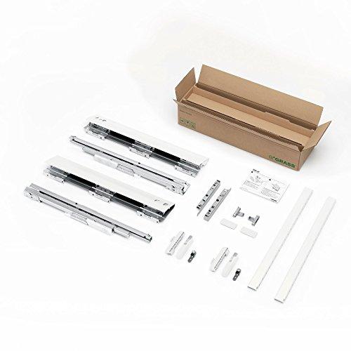 SOTECH DWD-XP Frontauszug H95 / 40 kg/Nennlänge 500 mm/weiß mit Rechteckreling und SoftClose Schubladenauszug Schublade Schubkasten