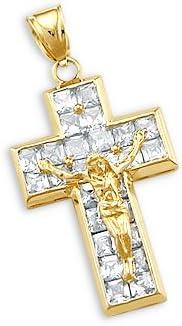 Sonia Ranking TOP6 Jewels 14k Dealing full price reduction Yellow Gold Charm Crucifix Jesus Pendant Cross