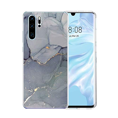 Handyhülle für Huawei P30 Pro Hülle Transparent Weich TPU Silikon Anti-Fingerabdruck Ultra Dünn Handyhülle Anti-Gelb Stoßfest Bumper Marmor Blume Design Case Cover Hülle Für Huawei P30 Pro (Grau)
