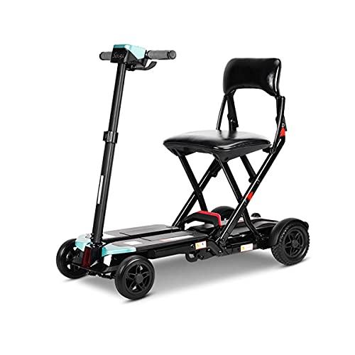 GWXSST Scooters eléctricos plegables de 4 ruedas para adultos mayores, silla de ruedas motorizada ligera, portátil, plegable, con asiento para todo terreno para viajes al aire libre