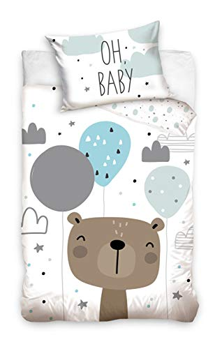 DHestia BABY203006 100% Natural Cotton Duvet Cover Set for Baby Bear Cot