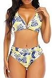 Womens High Cut Bikini Brazilian Halter Knot Bandage Swimsuits Sexy Padded Swimwear Triangle Bikini Two Piece Bathing Suits Yellow XL