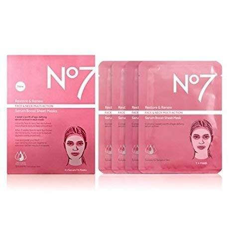 No7 Restore & Renew FACE & NECK MULTI ACTION serum boost sheet masks - Set of 4