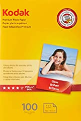 Glossy photos for everyday prints and albums Instant dry:  No smearing, no smudging Guaranteed to work with any inkjet printer When a picture on a screen just is not enough, trust Kodak, the #1 brand of photo paper When Please note that this item is ...