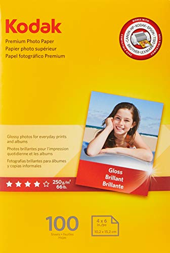 "KODAK Premium Photo Paper Gloss 4""x6"", 100 count, 66lb-250g/m2 weight, 8.5 mil thickness (41157 - 1034388)"
