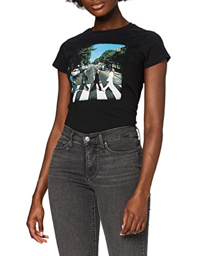 The Beatles Abbey Road Women's Short Sleeve Shirt Gr. 40, Schwarz - Schwarz