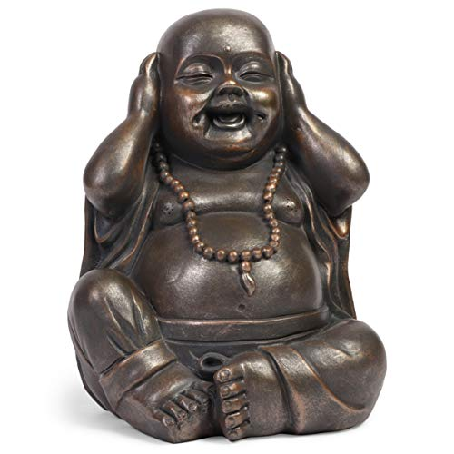 Juvale Laughing Buddha Statue, Sitting Buddha for Tabletop, Home, or Garden (7 Inches)