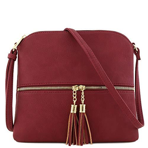 Lightweight Medium Crossbody Bag with Tassel Wine