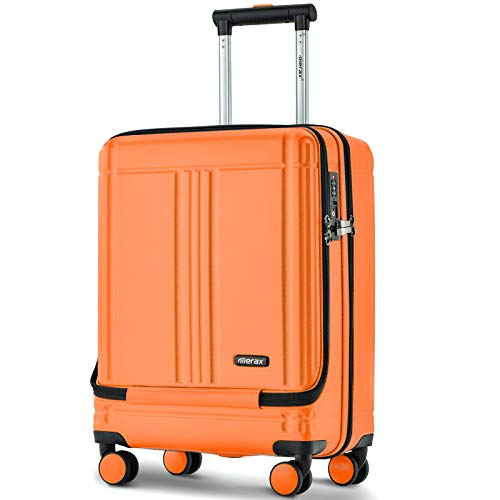 PovKeever Cabin Luggage with Front Laptop Pocket Hard Suitcase ABS 4 Wheels with TSA Lock (20, Orange)