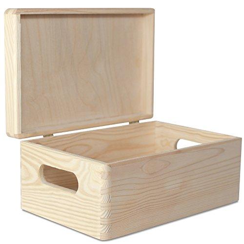 Creative Deco Grande Caja Madera para Decorar | 30 x 20 x 14 cm (+/-1cm) | con Tapa y Asas | Cofre Decoración Decoupage | para Almacenar Documentos, Objetos de Valor, Juguetes, Herramientas