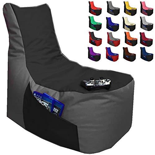 Sitzsack Gamer Lounge Ø 85-90cm mit Füllung 2-farbig Gaming BeanBag Sitzkissen Bodenkissen Kissen Sessel Sofa (Anthrazit + Schwarz)