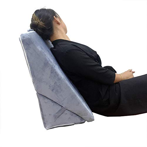 QuQiaoUK Almohada de espuma viscoelástica para cama con cuña ajustable para apoyo de piernas y espalda, almohada de lectura