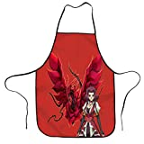 Delantal de cocina Aki and Rose Dragon, impermeable, ajustable, para hombres y mujeres