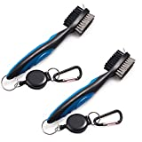 Golf Club Cleaner Brush Cleaning Kit Retractable Zip-Line 2 Ft Value 2 Pack, Golf Brush Lightweight Iron Wood Shoe Double-side Cleats Scrubber Aluminum Carabiner Tools Blue Black (Pack of 2, Blue)
