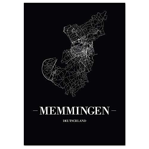 JUNIWORDS Stadtposter - Wähle Deine Stadt - Memmingen - 30 x 40 cm Poster - Schrift A - Schwarz