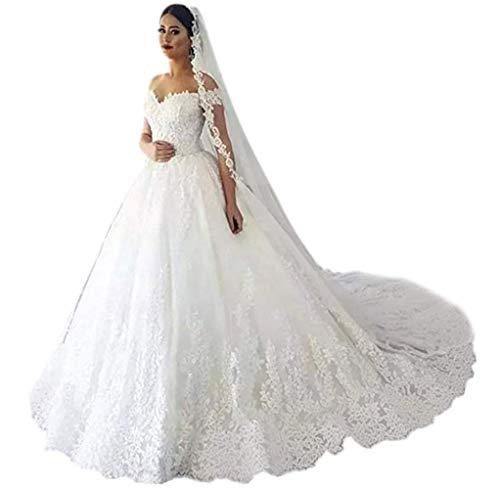 Andybridal Gorgeous Plus Size Off Shoulder Lace Court Train Bridal Gowns Wedding Dress for Bride 2020 White 20 Plus