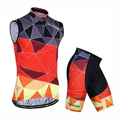 YXX Herren Fahrrad Trikot Ärmellos Radsport Trikot Set Mit 3D Cushion Shorts Jersey Radfahren Latzhose Shorts Im Sommer,Rot,S