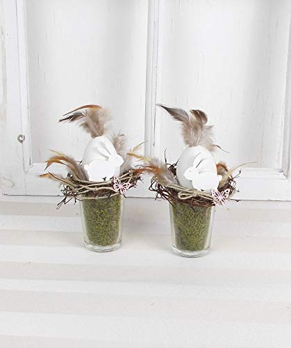 2er Set Ostergesteck im Glas, weiße Holzhasen, Ostern, Tischgesteck, Frühlingsdeko