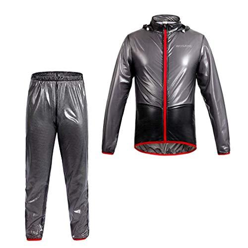 perfeclan Unisex Wasserdichter Regenmantel Und Hosen, Cycle Motorrad Skin Coat Jersey Winddichte Jacke Hose - Schwarz, XL