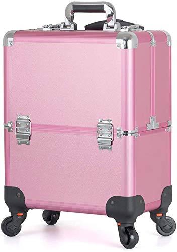 Leifeng Tower Estuche de maquillaje profesional multifuncional portátil de aluminio para cosméticos, bandejas plegables en el interior con espejo y cerraduras, color rosa, pequeño (color: rosa)