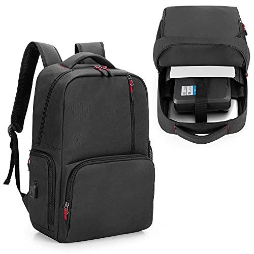 SAMDEW Tragbarer Drucker Taschen Rucksack, Kompatibel mit HP OfficeJet 200/250, HP Tango/Tango X, Trage Tasche für Mobile Drucker mit Laptop Schicht (bis zu 15,6