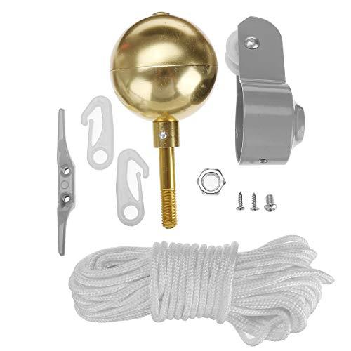 Unbekannt Reparatur-Werkzeug-Set, 5,1 cm Durchmesser, Seilrolle mit goldfarbenem Kugel, Halyard Seil.