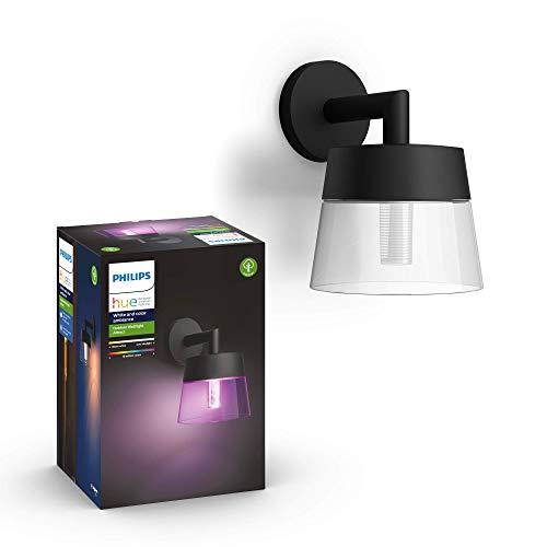 Philips Hue – Lámpara inteligente, Hue Attract, Aplique de Exteriores LED Inteligente, Luz Blanca y de Colores, Compatible con Alexa y Google Home, Color Negro