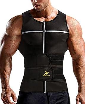 NINGMI Sauna Vest for Men Sweat - Waist Trainer Vests 2 in 1 Neoprene Zipper Tank Top Slimming Trimmer Belt Workout Gym Shirt Black