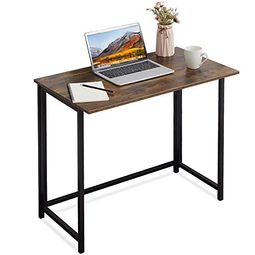 APOWE Folding Desk, Folding Computer Desk Home Office Table Foldable Study Table for Students Non Assemble Laptop Desk Gaming Workstation for Living Room Bedroom Rustic Brown