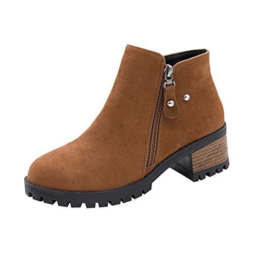 Honestyi Bottes Femme Rivet Boots Zipper Bottes Martin Vintage Chaussures Talon épais Footwear Suede Couleur Unie Boots Rivets Shoes Classiques Respirant Bottillons Chaussures de Travail