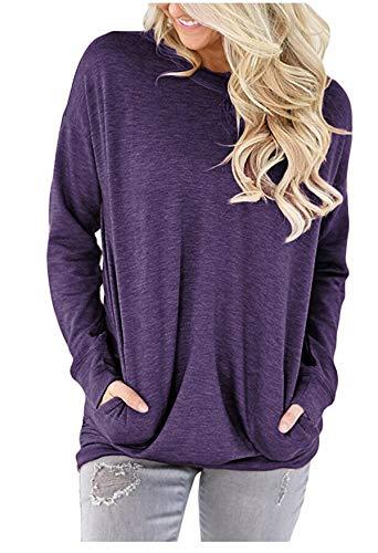 onlypuff Purple Long Sleeve Shirts for Women Pockets T Shirts Loose Fit Tunics L