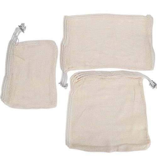 Leylor Storage Bag - 9Pcs Reusable Washable Cotton Mesh Storage Bags Drawstring Bag for Toys Vegetable Snacks