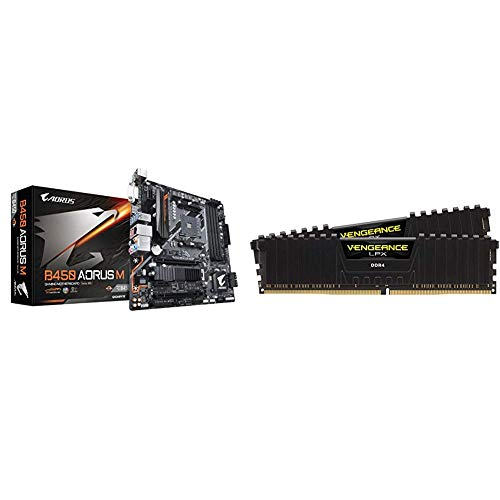 Gigabyte B450 AORUS M (AMD Ryzen AM4/M.2 Thermal Guard/HDMI/DVI/USB 3.1 Gen 2/DDR4/Micro ATX/Motherboard) & Corsair Vengeance LPX 16GB (2x8GB) DDR4 DRAM 3200MHz C16 Desktop Memory Kit - Black