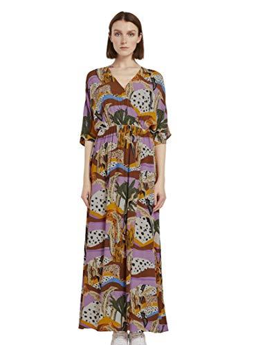 TOM TAILOR Denim Damen Wickel Druck Kleid, Tropical Safari Print, S