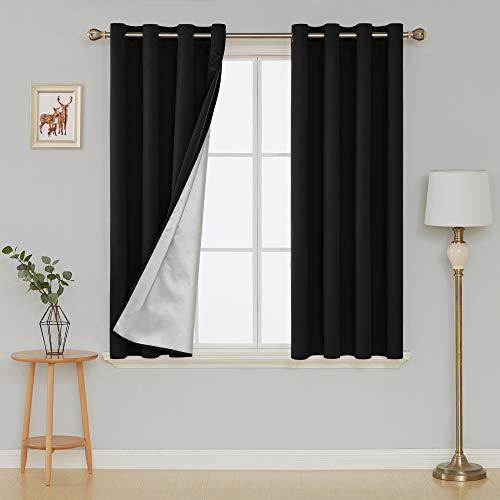 Deconovo Cortinas Opacas con Aislamiento Térmico con Ojales para Dormitorio y Salón 135 x 180 cm Negro