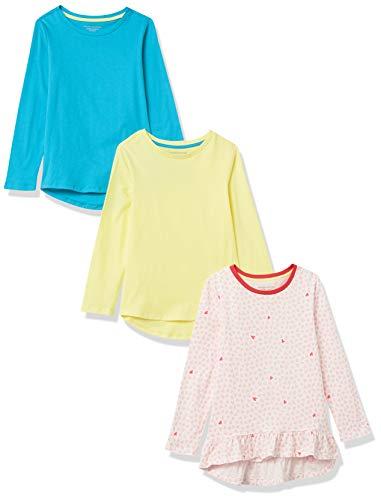 Amazon Essentials Long-Sleeve Cotton Jersey Tunic T-Shirts Fashion, Rosa Claro, Corazones, 6-7 años