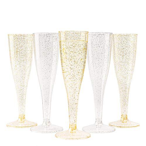 Matana 120 Flute da Champagne in Plastica con Glitter Dorati e Argento - 150ml