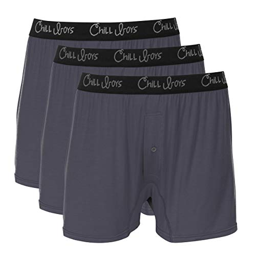 Chill Boys Soft Bamboo Mens Boxers 3 Pack - Cool, Comfortable Bamboo Underwear (Small, Gray)