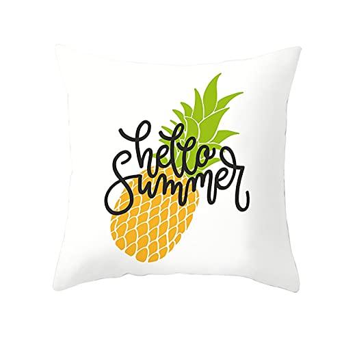 Daesar Fodere Cuscini Divano, Federe Cuscino Quadrato Bianco Federe Cuscini 40x40 Fantasia 1 Pezzo Ananas Hello Summer, Federe in Poliestere