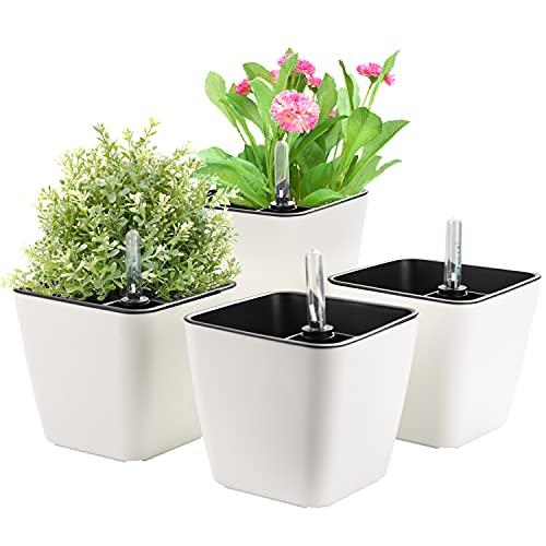 Herefun Vaso da Fiori Autoirrigante con Indicatore del Livello dell'Acqua, Set di 4 Vasi per Piante Vaso Fioriera da Interno Ed Esterno Cachepot per Piante Vaso con Adesivi Decorativi (A)