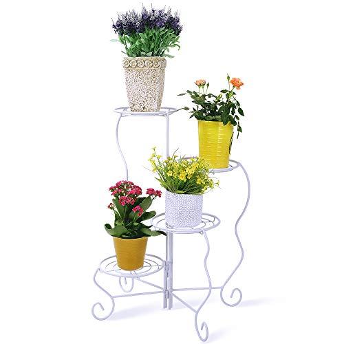 Worth Garden Drehbar Weißer Blumenständer Metall Pflanzenständer Ablagen Blumentreppe für 4 Blumentöpfe Pflanzenregal Garten Haus Balkon Terrasse Decor